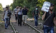 Imigranţi pe o cale ferată din Serbia speră să intre în Ungaria (Foto: Reuters/Marko Djurica)