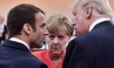 Emmanuel Macron, Angela Merkel si Donald Trump