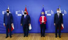 Șefa CE și liderii grupului de la Vișegrad (Sursa: AP/Mediafax Foto)