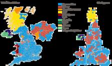 Harta rezultatelor alegerilor parlamentare din UK din 2019