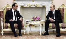 Presedintii francez si rus, François Hollande si Vladimir Putin, la Kremlin în aprilie 2015