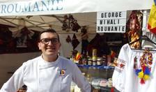 """Chef George Mihali în fata standului României la """"Village de la Gastronomie"""""""