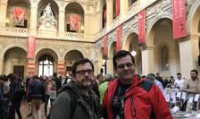 """Editorul Bogdan Hrib şi scriitorul Lucian Dragoşi Bogdan la Salonul """"Quais du Polar"""" de la Lyon"""