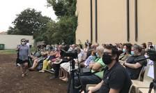 Lectură în aer liber la Festivalul de teatru de la Pont à Mousson, august 2020.