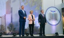 Președintele Iohannis în vizită la Spitalul Universitar din București împreună cu Președinta Comisiei Europene, Ursula von der Leyen, și premierul Florin Cîțu