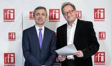 Ionuț Simion și Constantin Rudniţchi în studioul RFI România