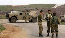Soldati israelieni la frontiera cu Siria, pe platoul Golan, 10 februarie 2018