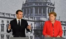Emmanuel Macron si Angela Merkel la Berlin în aprilie 2018