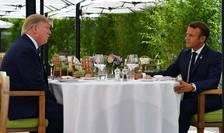 Dejun Donald Trump -  Emmanuel Macron, la Hôtel du Palais la Biarritz, 24 august 2019, în prima zi a summit-ului anual G7.