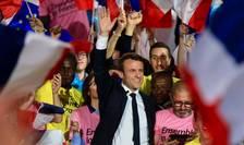 Centristul independent Emmanuel Macron, finalist al prezidentialelor franceze din 7 mai, în miting la Villette de întâi mai