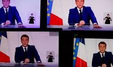 Presedintele Frantei, Emmanuel Macron, în timpul interventiei sale radiotelevizate din 24 noiembrie 2020.