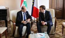 Michel Aoun, presedintele Libanului, si omologul sàu francez Emmanuel Macron, la Beirut, 12 octombrie 2018