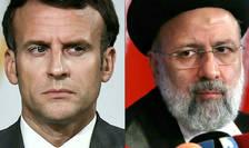 Președintele francez Emmanuel Macron și președintele iranian Ebrahim Raïssi.