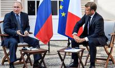 Conferintà de presà a presedintilor Vladimir Putin si Emmanuel Macron, Fort de Brégançon, 19 august 2019.