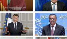 Emmanuel Macron, presedintele Frantei, anuntând în cadrul unei reuniuni OMS deschiderea, la Lyon, în 2023, a Academiei mondiale a sànàtàtii, 24 mai 2021.
