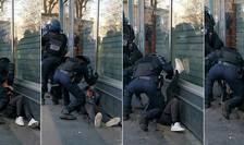 Secvente extrase dintr-un video în care se poate vedea cum un politist îl loveste pe un manifestant imobilizat la sol, 18 ianuarie 2020