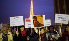 Manifestatie de sustinere la Paris, 29 octombrie 2014, pentru eliberarea Asiei Bibi condamnata la moarte în Pakistan pentru blasfemie. Pe 31 octombrie 2018 ea a fost achitata de Curtea Suprema din Pakistan de toate acuzatiile ce ii erau aduse.