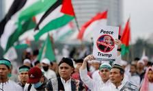 Manifestatie împotriva deciziei americane de recunoastere a Ierusalimului drept capitala a Israelului, Jakarta, 17 decembrie 2017