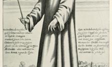 Gravură de Paul Fürst (1656) - echipament purtat de medici în timpul epidemiei de ciumă de la Roma, secolul al XVII-lea.
