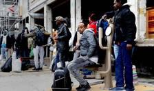 Migranti la Porte de la Chapelle, în nordul Parisului, 25 noiembrie 2016