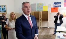 Milo Djukanovic, în sectia de vot, la Podgorita, 15 aprilie 2018