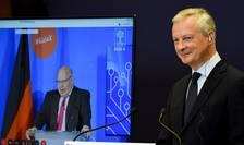 Ministrul francez Bruno Le Maire si omologul sau german cu ocazia prezentarii proiectului Gaia X pe 4 iunie 2020.