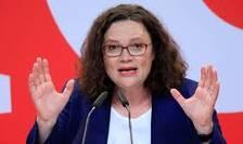 Preşedinta Partidului Social-Democrat din Germania (SPD), Andrea Nahles, a renunţat la funcţia de şefă de partid