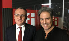 Sorin Cîmpeanu și Nicolas Don in studioul de inregistrari RFI