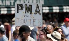 O manifestatie în Paris în care s-a pledat pentru deschiderea procedurii de procreare asistata medical, pentru toate femeile, 29 iunie 2019.