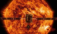 Solar Orbiter în fata Soarelui (imagine de ilustrare)