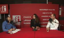 Ovidiu Nahoi, Irène Costelian și Mirel Bran in studioul de inregistrari al RFI Romania