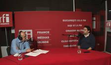 Ovidiu Nahoi și istoricul Mădălin Hodor in studioul RFI Romania