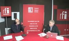 Ovidiu Nahoi și Alexandru Grumaz in studioul de inregistrari al RFI Romania