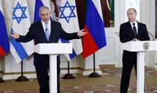 Premierul israelian Benjamin Netanyahu alaturi de presedintele Rusiei, Vladimir Putin în cadrul unei vizite la Moscova, iunie 2016