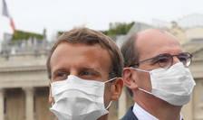 Presedintele Emmanuel Macron si premierul Jean Castex în Place de la Concorde, Paris, 14 iulie 2020.