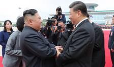 Presedintii Kim Jong Un si Xi Jinping cu ocazia unei vizite a liderului chinez în Coreea de Nord în iunie 2019.