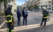 Primarul din Nisa, Christian Estrosi se afla locul atacului, la Basilica Notre Dame, Nisa, 29 octombrie 2020.