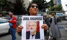 Protest în fata consulatului Arabiei Saudite la Istanbul pentru a cere eliberarea lui Jamal Khashoggi, 9 octombrie 2018.