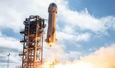 Racheta conceputa de Blue Origin în momentul decolajului din Van Horn, Texas, 20 iulie 2021.