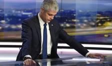 Laurent Wauquiez anunţîndu-şi demisia din fruntea partidului Republicanii.