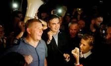 Fostul presedinte georgian Mihail Saakasvili si opozanta ucraineanà Iulia Timosenko pe 10 septembrie 2017 la granita polono-ucraineanà
