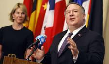Seful diplomației americane, Mike Pompeo se adresează jurnalistilor dupa întâlnirea cu membrii Consiliului de Securitate ONU, joi, 20 august 2020.