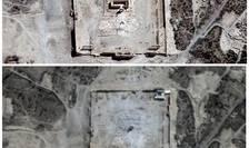 Vedere din satelit asupra Templului Bel din Palmira, înainte şi după distrugere (Foto: Reuters/UrtheCast, Airbus DS, UNITAR-UNOSAT)