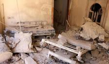 Spital distrus în sectorul rebel la Alep, Siria, în 2016.