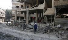 Spitalul din Hamouria, Ghouta orientala, Siria, distrus într-un bombardament atribuit regimului Bachar al Assad, 21 februarie 2018