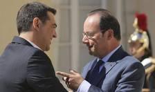 Premierul elen Alexis Tsipras si presedintele francez François Hollande în regiunea Parisului pe 25 august 2016