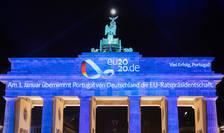 Portugalia a preluat la 1 ianuarie 2021 presedintia semestrialà a UE, dupà cum se poate citi pe poarta Brandebourg, monumentul simbolic din Berlin.