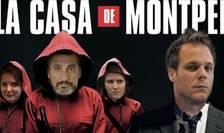"""Umoristul Rémi Gaillard (dreapta) a realizat un montaj foto cu aliatii sai pentru cel de-al doilea tur de municipale, inspirându-se din seria spaniola """"La Casa de papel""""."""