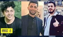 Un colaj realizat de Amnesty International si în care pot fi vazuti Saïd Tamdjidi, 28 de ani, Mohammad Radjabi, 26 de ani si Amirhossein Moradi, 26 de ani. Cei trei au fost condamnati la moarte pentru ca au participat la manifestatiile din noiembrie 2019.