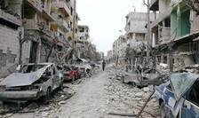Vedere din Ghouta orientala distrusa în bombardamentele regimului sirian
